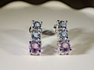 NATURAL AMETHYST, SKY BLUE TOPAZ EARRING- 925 SILVER, 14K WHITE GOLD PLATED #711