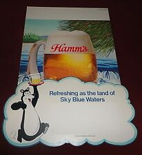 1970s Hamm'S Beer Bear Sign Store Display cardboard Unused Glass Mug Pos
