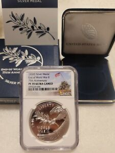 NGC PF70 2020 P End of World War 2 II 75th 1oz Silver Medal Eagle IWO JIMA LABEL