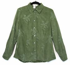 COLDWATER CREEK Button Front Microsuede Embroidered Shirt Green Long Sleeve Sz M