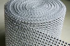 "Rhinestone Mesh Roll Silver 4.75""x10 yards Wrap Mesh Venue Decoration Decoracion"