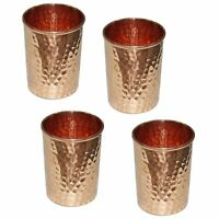 4 X Handmade Hammered Pure Copper glass Cups For Healthy Water Healthy Drinking