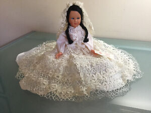 DOLL - Collectors Bride Doll in White Lace Trimmed Wedding Dress 11inch (28cm)