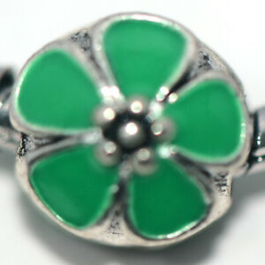 Silver Green Flower Bead Charm Spacer Fit Eupropean Chain Bracelet Make Jewelry