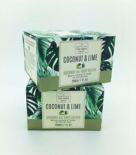 2 Pack Scottish Fine Soaps Co - COCONUT & LIME Body Butter 7oz /200 mL glass jar