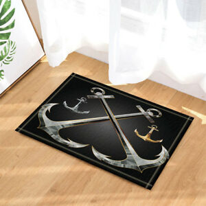 Nautical 3D Metal Anchor Gray And Gold Bathroom Rug Non-Slip Floor Door Mat