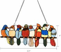 Tiffany Style Glass Window Panel 8 Birds, Stained Glass Window Hangings Panel 8