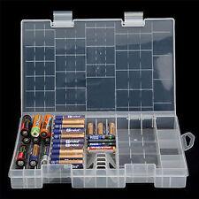 AAA AA C D 9V Battery Storage Holder Hard Clear Plastic Case Box Bag Rack New
