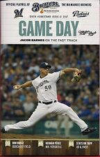 JACOB BARNES ON COVER MILWAUKEE BREWERS 2017 OFFICIAL GAMEDAY PROGRAM ISSUE #12