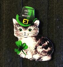 St Patrick's Day Kitty Cat Pin Irish Jewelry Handcrafted Wood Party Hat Shamrock