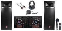 "DJ Package w/Numark Serato Controller+(2) Dual 15"" 2000 Watt Speakers+Headphones"