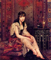 Oil painting gustave leonhard de jonghe - meditation beautiful young girl seated