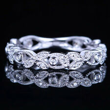 Estate 10K White Gold Vintage Eternal Milgrain Diamonds Wedding Band Fine Ring