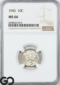 1945 MS66 Mercury Dime NGC Mint State 66