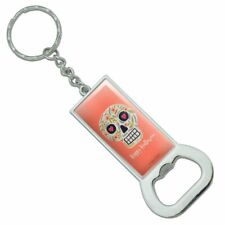 Happy Halloween Fun Floral Skull Rectangle Metal Bottle Opener Keychain