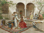 Framed canvas art print giclee DANCING IN THE HAREM COURTYARD