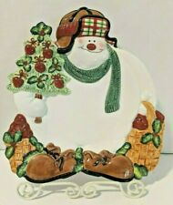 Fitz and Floyd Apple Tree Snowman Christmas Canape Cookie Plate