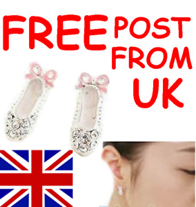 BALLET SHOES DAINTY BALLERINA PUMPS STUD EARRINGS - POSTED 2ND CLASS FROM UK
