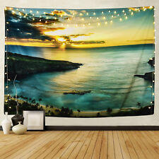 Sea Scenery Print Tapestry Wall Hanging Landscape Tapestry Bedspread Decor USA
