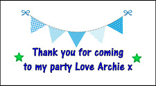 48 Personalised Blue Bunting Stickers labels Party Bag Sweet Cones Thank You
