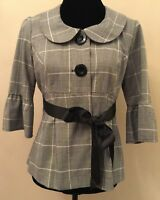 Candies Womens Jacket Size Medium Gray Plaid 3/4 Bell Sleeve Button Down Career