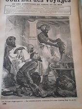 1880 Gravure Les Fidjiens antropophages marmites énormes chair humaine