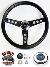 """1978-1991 Bronco steering wheel BLUE OVAL 13 1/2"""" CLASSIC BLACK steering wheel"""