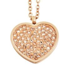 Frauen Damen Halskette Herz Zirkon Anhänger Schmuck verstellbar Kette Roségold