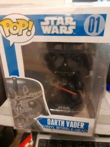 Darth Vader 01 Funko Pop Star Wars Blue Box 1st Edition Signed Dave prowse