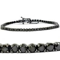 4ct Black Diamond Tennis Bracelet 14K Black Gold 7""