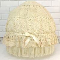 Large Crochet Fringed Lamp Shade Cover Lampshade Boho Hippie Ecru Antique White