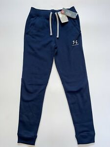 Under Armour Boys Youth Blue ColdGear Fitted Fleece Joggers S M L Pockets BNWT