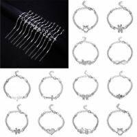 Charm Lady Infinity Love Heart Stainless Steel Adjustable Chain Bracelet Jewelry