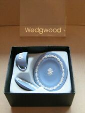 Wedgwood Jasperware Blue Miniature Cup & Saucer with Plate  Boxed