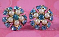 Vintage Earrings Turquoise Rhinestones Faux Pearls Screw