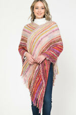 Women Tweed  Shawl Poncho Knitted Sweater Cardigan