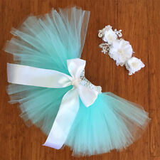 Deluxe Size 1 Toddler Baby Girl Tiffany Tutu Skirt Headband Photo Prop Outfit