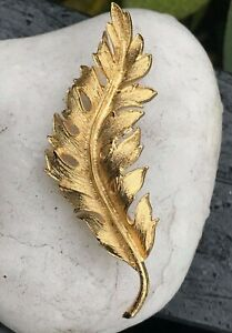 Coro Brushed Gold Leaf Pin Marked '1961'