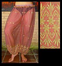 Harem Pants Belly Dance Salmon Pink w/ Gold Brocade