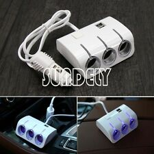 3 Way Car Cigarette Lighter Socket Extension Splitter Charger Adapter USB White