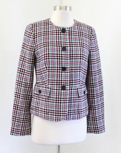 NWT Talbots Green Pink Multi Color Wool Blend Plaid Blazer Jacket Size 4 Holiday