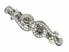 Antique Vintage Silver Crystal Barrette Bridal Hair Clip Slide Grip Victorian