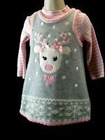 BONNIE BABY Christmas Girls 18M Sweater Dress  Grey Pink Bonnie Jean