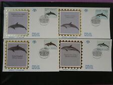 fish dolphin marine mammal set of 4 FDC Monaco 96998