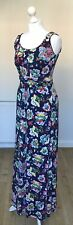 BODEN Long Navy Blue Floral Maxi Dress Stretch Jersey Sleeveless Size 10 Long