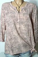 BONITA Bluse Gr. 40 lachs-grau/grau Muster Hüft 3/4-Arm Bluse/Tunika