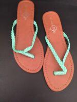 XL (9/10) Sole Mates Women's Green Braided Thong Sandals Flip Flops