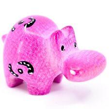 Smolart Hand Carved Soapstone Pink Hippopotamus Hippo Figurine Made in Kenya