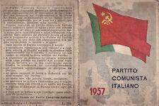 TESSERA P.C.I. 1957 PARTITO COMUNISTA ITALIANO SEZIONE DI SAVONA  9-44bis
