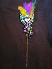 """COLORFUL """"MARDI GRAS JESTER SCEPTER"""" PARTY BALL PARADE WAND PROP KING QUEEN"""